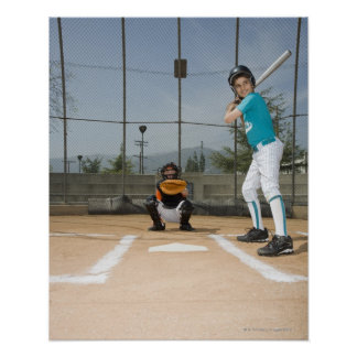 Little league player up to bat poster