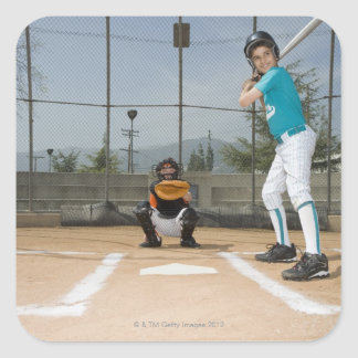 Little league player up to bat square sticker