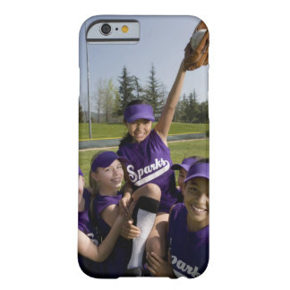 Little league players carrying teammate iPhone 6 case