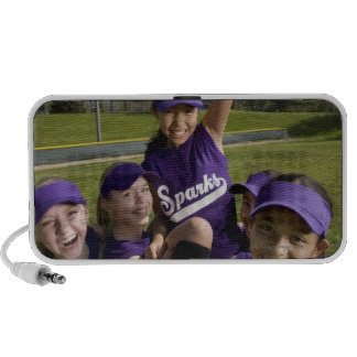 Little league players carrying teammate iPhone speaker
