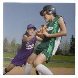 Little league softball game large square tile