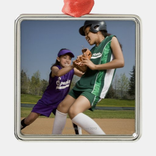 Little league softball game square metal christmas ornament