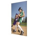 Little league softball game stretched canvas print