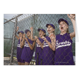 Little league team cheering in dugout cards