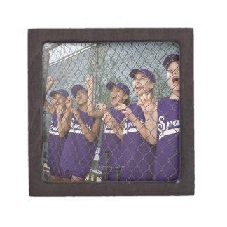 Little league team cheering in dugout premium keepsake boxes