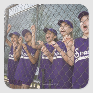 Little league team cheering in dugout square sticker