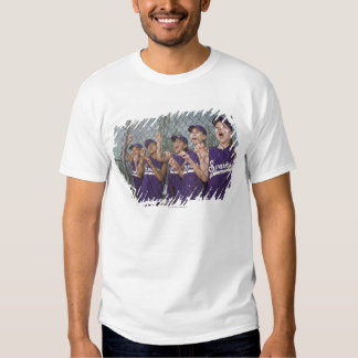 Little league team cheering in dugout t-shirt