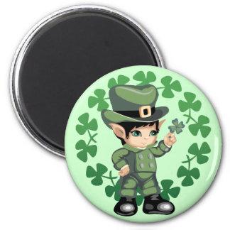 Little Leprechaun with Shamrocks 2 Inch Round Magnet