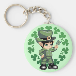 Little Leprechaun with Shamrocks Keychain