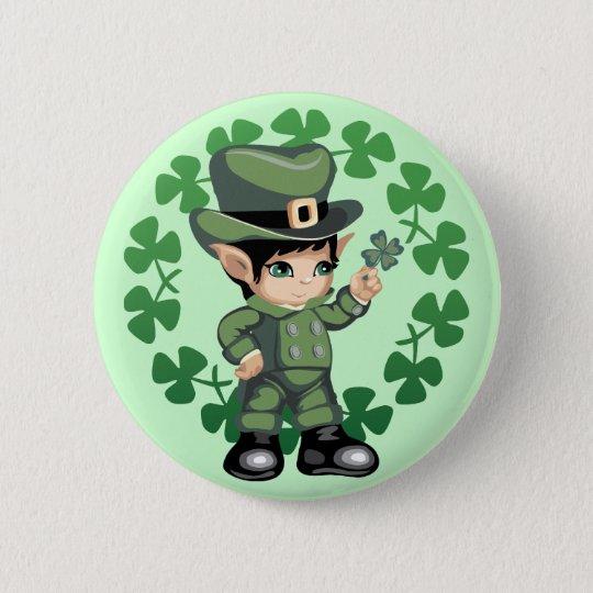 Little Leprechaun with Shamrocks Pinback Button