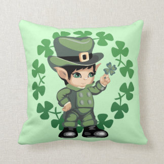 Little Leprechaun with Shamrocks Throw Pillow