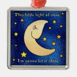Little Light of Mine Square Metal Christmas Ornament