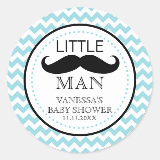 Little Lil' Man Mustache Boy Baby Shower Favor Classic Round Sticker