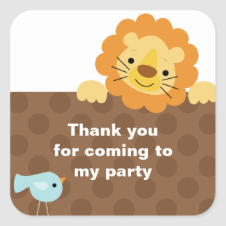 Little Lion and Bird Stickers Square Sticker