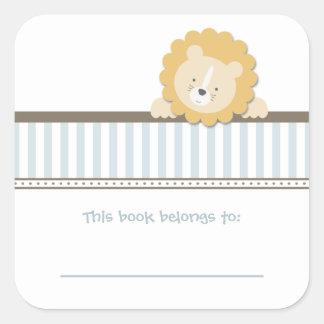 Little Lion {Blue}   Bookplates Square Sticker