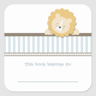 Little Lion {Blue} | Bookplates Stickers