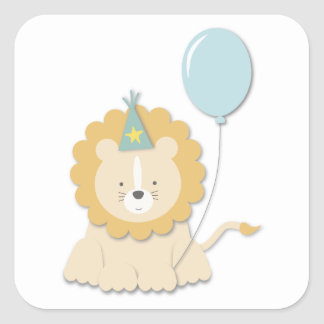 Little Lion Cub & Balloon {Blue}   Stickers