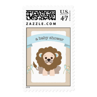 Little LIon Sweet Jungle Blue Baby Shower Postage