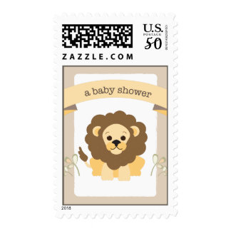 Little LIon Sweet Jungle Brown Baby Shower Postage