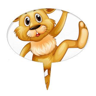 Little lion waving hand cake topper