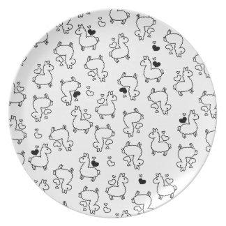 Little Llama Silhouette Madness Dinner Plate