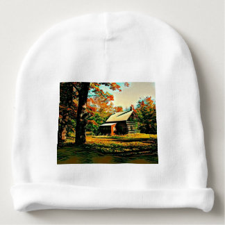 Little Log Cabin in the woods Art Baby Beanie