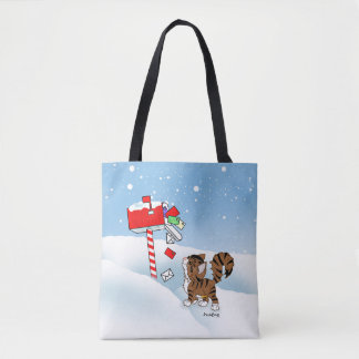 Little LoLee visits her mailbox at Christmas Tote Bag