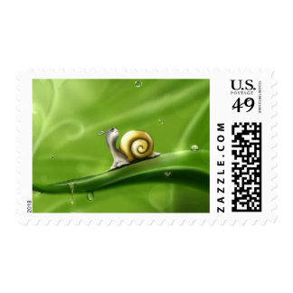 Little Lonely Snail on a Leaf in Rain Stamp