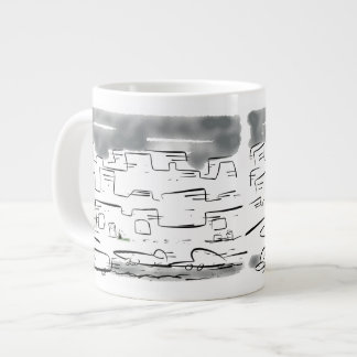 Little lost cat in the busy city large coffee mug