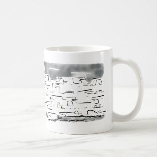 Little lost cat in the busy city basic white mug