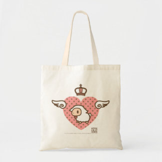 Little Lost Lamb Winged Crown Heart Budget Tote Bag