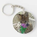 Little Louie - the serval kitten button Key Chain
