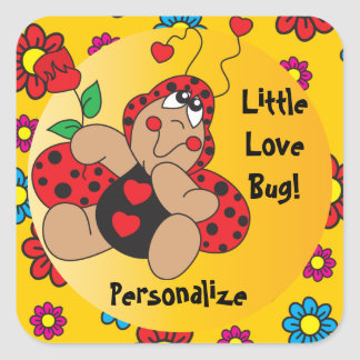 Little Love Bug Baby Shower Theme Square Sticker