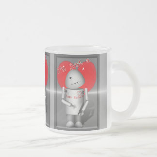 Little Love Machine Robo-x9 10 Oz Frosted Glass Coffee Mug