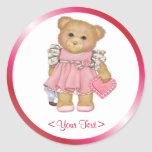 Little Love Teddy - Customize Text Classic Round Sticker