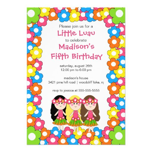 Little Luau Party Birthday Invitation