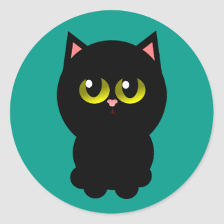 Little Lucky Black Cat Classic Round Sticker