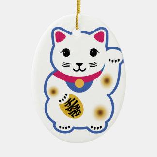 Little Lucky Cat, Maneki-neko ,招き猫 Ceramic Ornament