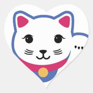 Little Lucky Cat, Maneki-neko ,招き猫 Heart Sticker