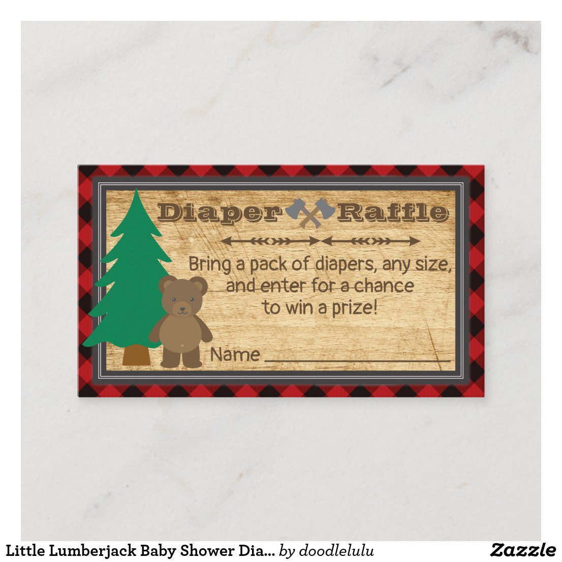 Little Lumberjack Baby Shower Diaper Raffle Ticket