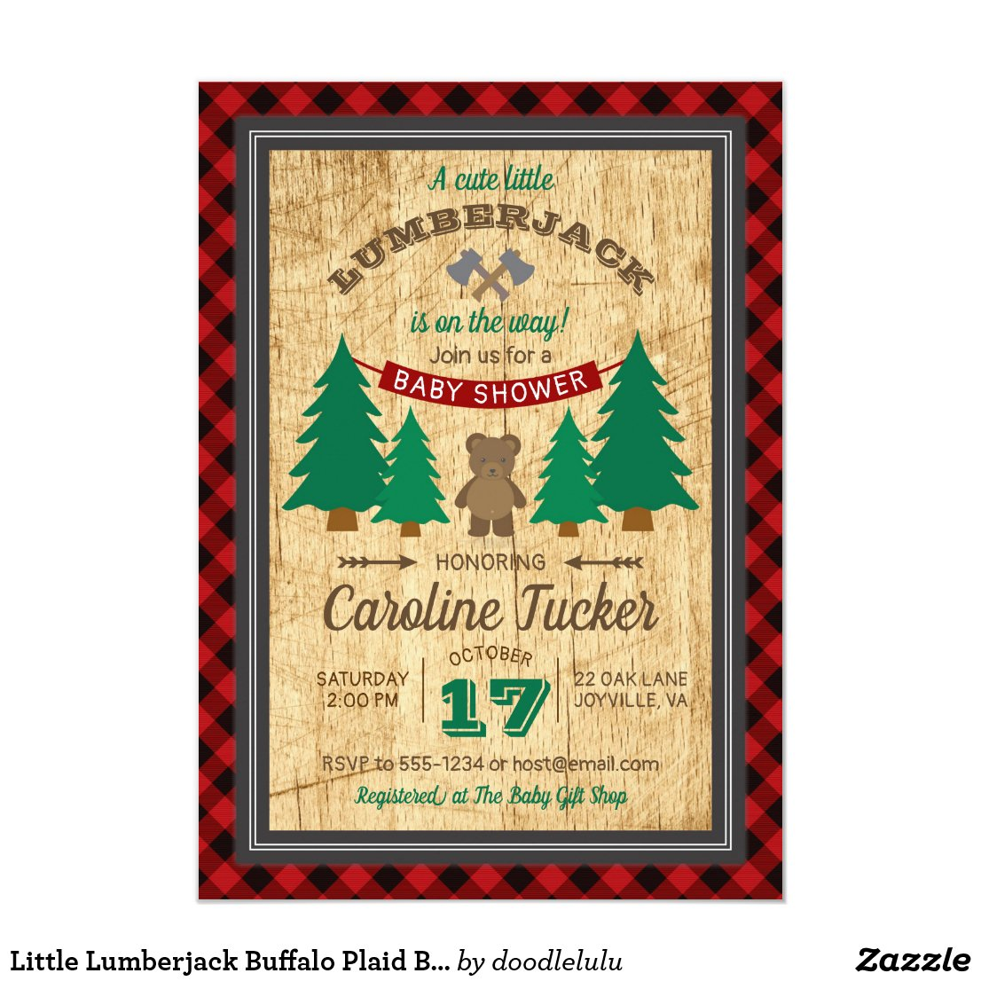 Little Lumberjack Buffalo Plaid Baby Shower Invitation