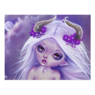 Little Luna moon girl purple postcard