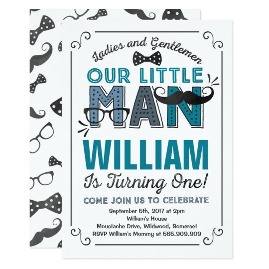 Little man 1st birthday invitation mustache party zazzle little man 1st birthday invitation mustache party filmwisefo