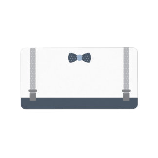 Little Man Address Label, Blue and Gray Label