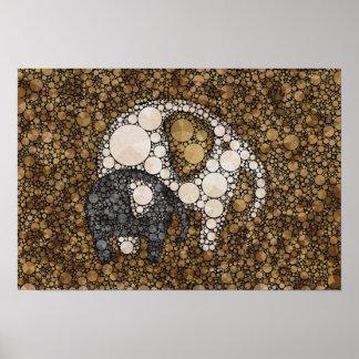 Little Man and Pop Pattern Elephants Poster