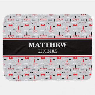 Little Man Baby Blanket, Red, Black, Gray, Bow Tie Baby Blanket