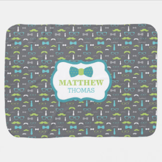 Little Man Baby Blanket, Teal, Lime, Gray, Bow Tie Swaddle Blanket