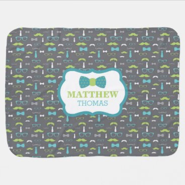 Toddler & Baby themed Little Man Baby Blanket, Teal, Lime, Gray, Bow Tie Swaddle Blanket