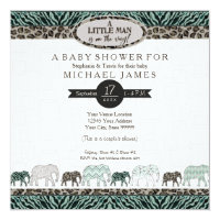 Little Man Baby Boy Safari Elephants Zebra Shower Card