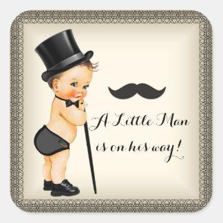 Little Man Baby Boy Shower Square Sticker